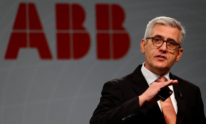 CEO Ulrich Spiesshofer of Swiss power and automation technology group ABB addresses a news conference to present the company's full-year results in Zurich, Switzerland February 8, 2017.  REUTERS/Arnd Wiegmann