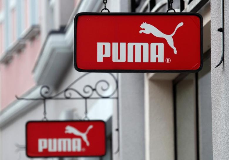 Boards with Puma store logo are seen on a shopping center at the outlet village Belaya Dacha outside Moscow, Russia, April 23, 2016. REUTERS/Grigory Dukor/File Photo