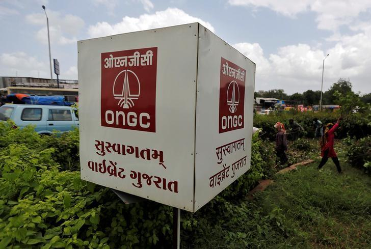 The logo of Oil and Natural Gas Corp's (ONGC) is pictured along a roadside in Ahmedabad, September 6, 2016. 0REUTERS/Amit Dave /Files