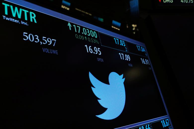 A screen displays the stock price of Twitter above the floor of the New York Stock Exchange (NYSE) shortly after the opening bell in New York, U.S., January 31, 2017. REUTERS/Lucas Jackson