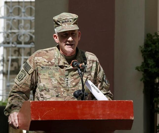 U.S. Army General John Nicholson, Commander of Resolute Support forces and U.S. forces in Afghanistan, speaks during a memorial ceremony to commemorate the 15th anniversary of the 9/11 attacks, in Kabul, Afghanistan September 11, 2016. REUTERS/Omar Sobhani