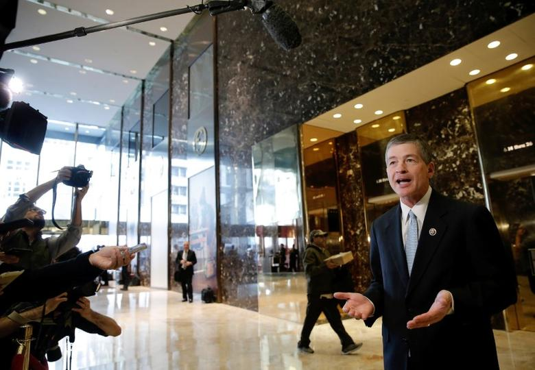 U.S. Representative Jeb Hensarling (R-TX) speaks to members of the media after meeting with U.S. President Elect Donald Trump at Trump Tower in the Manhattan borough of New York City, U.S., November 17, 2016. REUTERS/Mike Segar