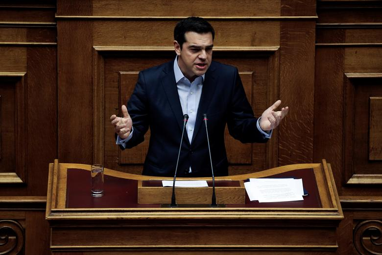 Greek Prime Minister Alexis Tsipras answers a question on corruption, during the Prime Minister's Question Time at the parliament in Athens, Greece, February 10, 2017. REUTERS/Alkis Konstantinidis