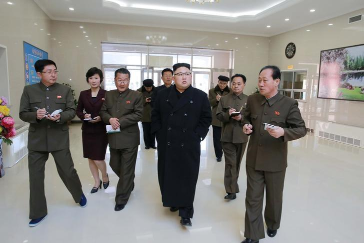 North Korean leader Kim Jong Un gives field guidance to the Kangdong Precision Machine Plant in this undated photo released by North Korea's Korean Central News Agency (KCNA) in Pyongyang February 7, 2017.   KCNA/via REUTERS