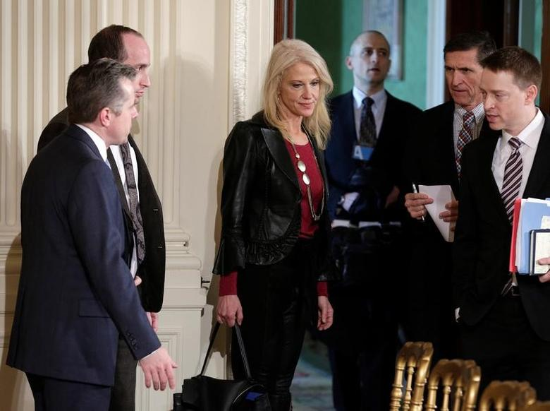 White House counselor Kellyanne Conway arrives for the joint news conference of  Japanese Prime Minister Shinzo Abe and U.S. President Donald Trump at the White House in Washington, U.S., February 10, 2017.     REUTERS/Joshua Roberts