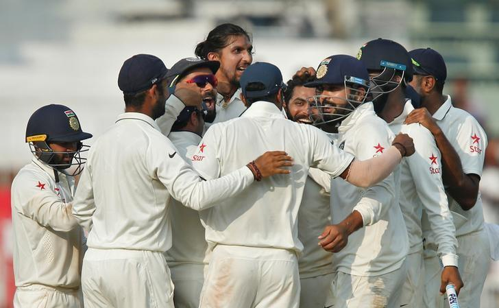 Cricket - India v England - Fifth Test cricket match - M A Chidambaram Stadium, Chennai, India - 20/12/16. India's players celebrate after winning the series. REUTERS/Danish Siddiqui/Files