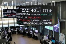 Фондовая биржа Парижа. Европейские рынки акций выросли в начале торгов среды на фоне подъема банковского сектора благодаря Credit Agricole, а также хороших квартальных результатов компаний. REUTERS/Benoit Tessier