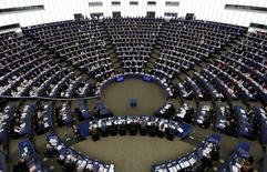 Members of the European Parliament take part in a voting session on the Comprehensive Economic Trade Agreement (CETA) between the EU and Canada, in Strasbourg, France, February 15, 2017.  REUTERS/Vincent Kessler