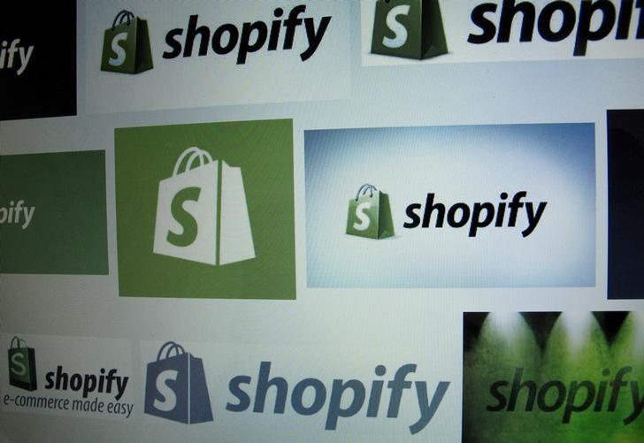 Canadian e-commerce company Shopify Inc logo is shown on a computer screen in the illustration photo in Encinitas, California May 3, 2016.      REUTERS/Mike Blake/File Photo