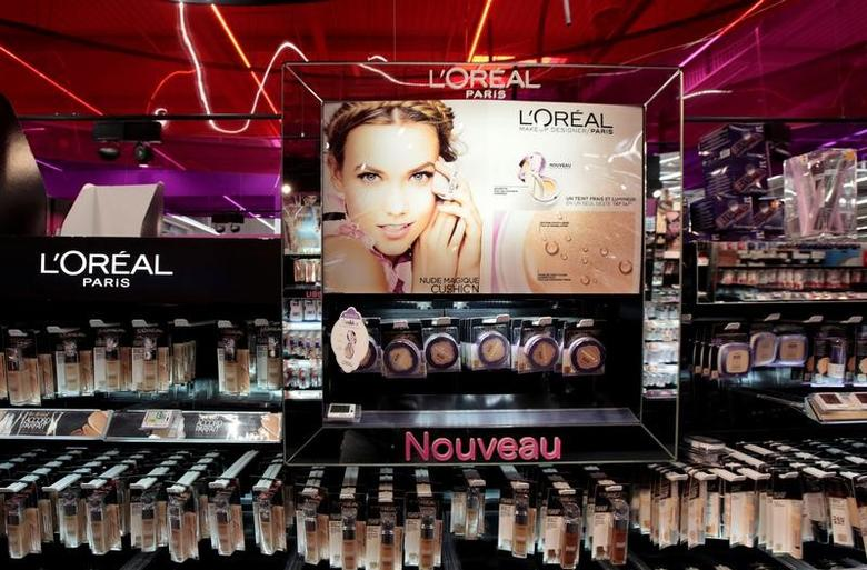 A cosmetic display of French cosmetics group L'Oreal is seen at a Carrefour hypermarket in Nice, France, April 6, 2016. REUTERS/Eric Gaillard