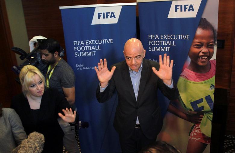 FIFA President Gianni Infantino gestures to the media in Doha, Qatar February 16, 2017. REUTERS/Naseem Zeitoon