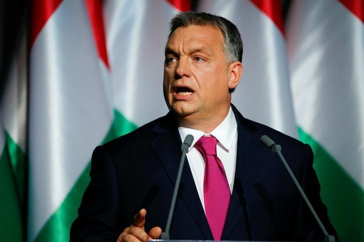 Hungarian Prime Minister Viktor Orban speaks during his state-of-the-nation address in Budapest, Hungary, February 10, 2017. REUTERS/Laszlo Balogh