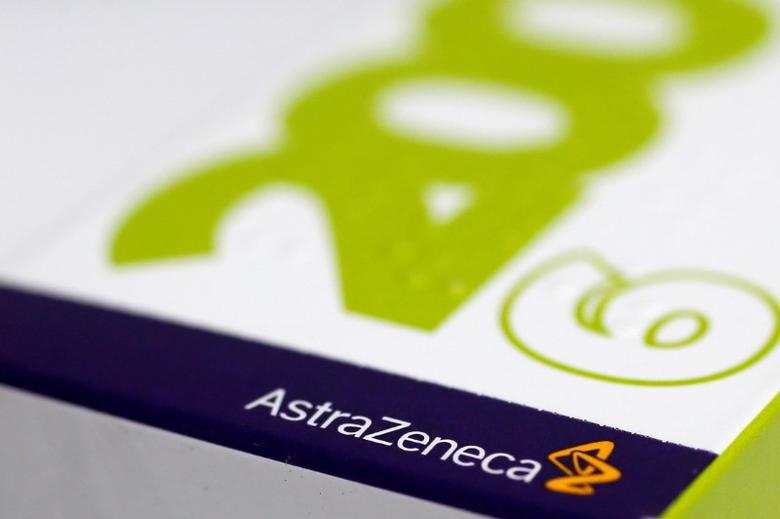 FILE PHOTO: The logo of AstraZeneca is seen on a medication package at a pharmacy in London April 28, 2014. To match Insight CHINA-CANCER/BLACK MARKET REUTERS/Stefan Wermuth/File Photo