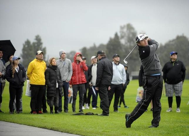 2月17日、米男子ゴルフのジェネシス・オープン、悪天候で60選手が第2ラウンドをスタートできないまま連日のサスペンデッドとなり、松山英樹は競技を終えることができなかった(2017年 ロイター/Gary A. Vasquez-USA TODAY Sports)