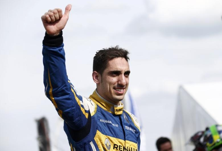 Formula E - Berlin ePrix, Berlin, Germany, 21/05/16. Swiss driver Sebastien Buemi of Renault e.Dams celebrates victory. REUTERS/Hannibal Hanschke  Picture Supplied by Action Images
