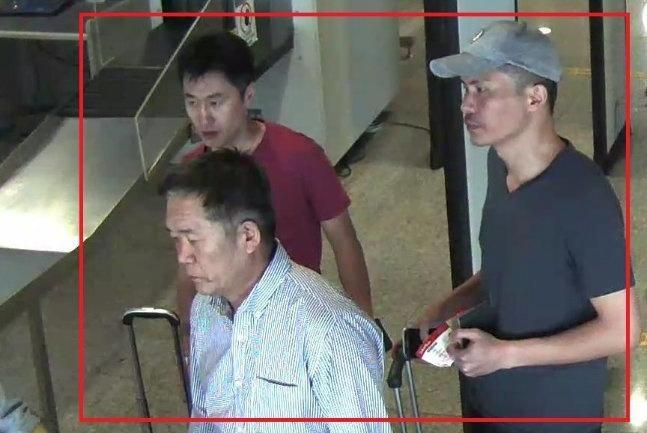 North Korean suspects Ri Jae Nam (front L), Hong Song Hac (back L) and Ri Ji Hyun (R) are seen in this undated handout released by the Royal Malaysia Police to Reuters on February 19, 2017. Police identified the three men as suspects in connection with the murder of Kim Jong Nam. Royal Malaysia Police/Handout via Reuters.