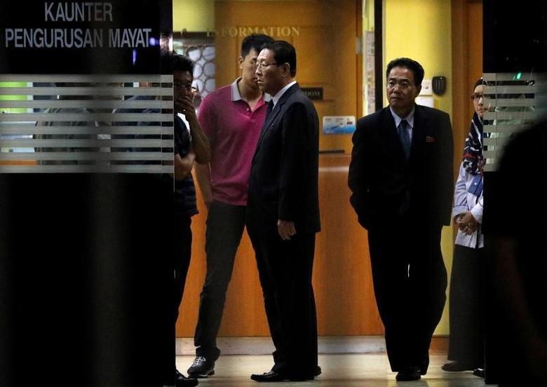 North Korean ambassador to Malaysia Kang Chol (C) leaves a morgue at Kuala Lumpur General Hospital where Kim Jong Nam's body is held for autopsy in Kuala Lumpur, Malaysia February 15, 2017. REUTERS/Edgar Su