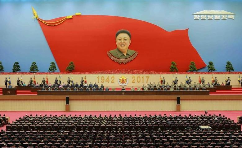 North Korean leader Kim Jong Un visits the Kumsusan Palace of the Sun on the birth anniversary of late leader Kim Jong Il (the Day of the Shining Star), to pay tribute to him, in this undated photo released by North Korea's Korean Central News Agency (KCNA) in Pyongyang on February 16, 2017. KCNA/Handout via Reuters