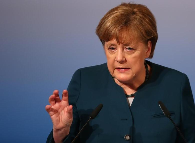 German Chancellor Angela Merkel delivers her speech during the 53rd Munich Security Conference in Munich, Germany, February 18, 2017.   REUTERS/Michael Dalder