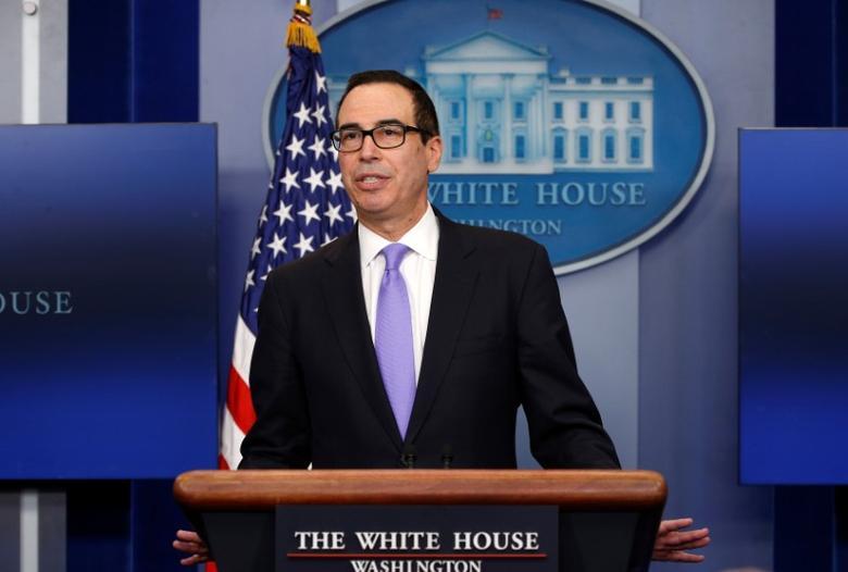 Treasury Secretary Steven Mnuchin speaks at a press briefing at the White House in Washington, U.S., February 14, 2017.  REUTERS/Kevin Lamarque