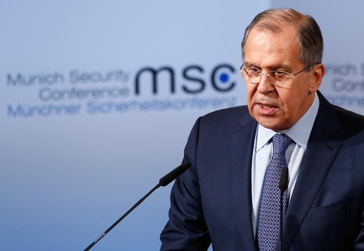 Russia's Foreign Minister Sergey Lavrov delivers his speech during the 53rd Munich Security Conference in Munich, Germany, February 18, 2017.    REUTERS/Michaela Rehle