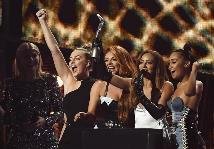 Little Mix accept the award for British Single at the Brit Awards at the O2 Arena in London, Britain, February 22, 2017.  REUTERS/Toby Melville