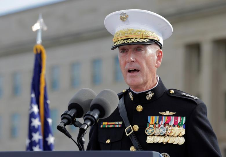 Joint Chiefs Chair Gen. Joseph Dunford speaks during a ceremony marking the 15th anniversary of the 9/11 attacks at the Pentagon in Washington, U.S., September 11, 2016.      REUTERS/Joshua Roberts