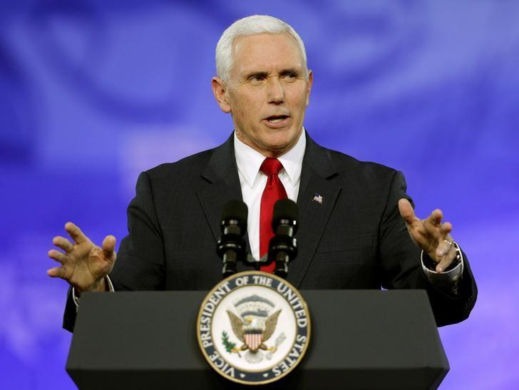U.S. Vice President Mike Pence speaks at the Conservative Political Action Conference (CPAC) in National Harbor, Maryland, U.S., February 23, 2017.      REUTERS/Joshua Roberts