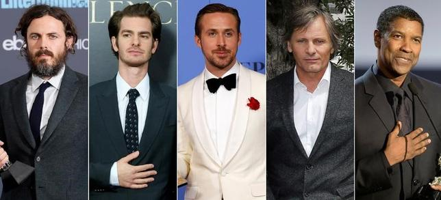 2月23日、今月26日に授賞式が行われる米アカデミー賞で、ともに主演男優賞にノミネートされているデンゼル・ワシントンとケイシー・アフレックが接戦を繰り広げている。写真は主演男優賞の候補者。左からアフレック、アンドリュー・ガーフィールド、ライアン・ゴズリング、ヴィゴ・モーテンセン、ワシントン(2017年 ロイター)