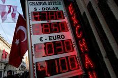 Un tablero muestra los tipos de cambio del dólar estadounidense y del euro contra la lira turca en una oficina de cambio en el centro de Estambul, Turquía, 12 de enero de 2017. REUTERS/Murad Sezer