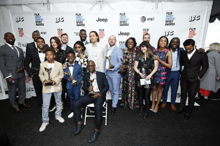 The cast of ''Moonlight'' poses backstage with their Best Feature award at the 2017 Film Independent Spirit Awards in Santa Monica, California, U.S., February 25, 2017. REUTERS/Danny Moloshok