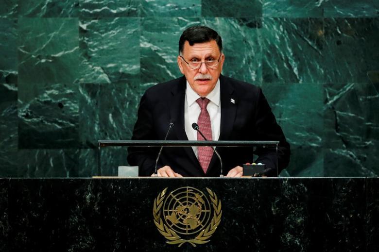 Prime Minister of Libya's unity government Fayez Seraj addresses the United Nations General Assembly in the Manhattan borough of New York, U.S., September 22, 2016.  REUTERS/Eduardo Munoz/Files