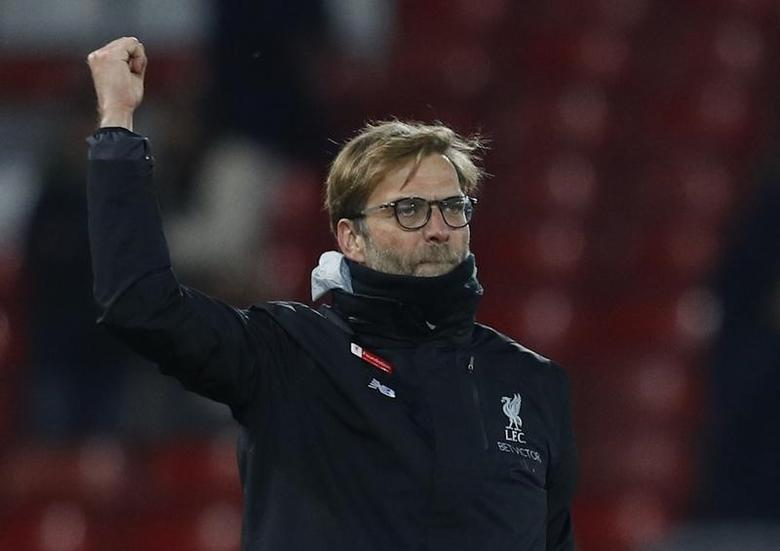 Britain Soccer Football - Liverpool v Tottenham Hotspur - Premier League - Anfield - 11/2/17 Liverpool manager Juergen Klopp celebrates after the match Reuters / Phil Noble/ Livepic/ Files