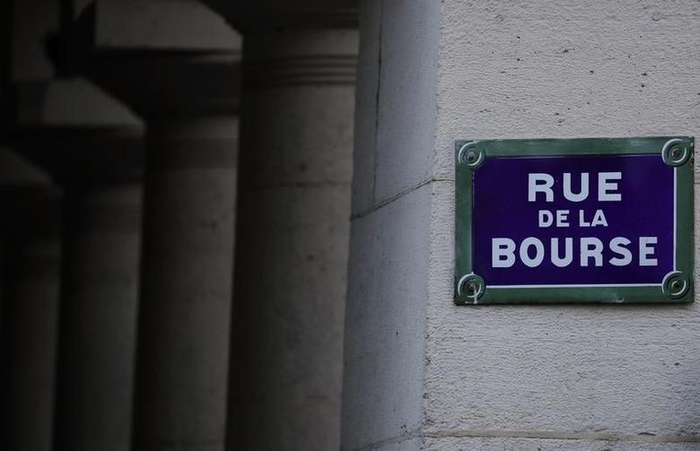 The street sign of the Bourse (Stock Exchange) street is seen near the former Bourse (Stock Exchange), the Palais Brongniart, in Paris, March 2, 2016. REUTERS/Christian Hartmann/Files