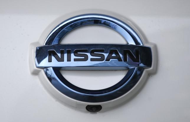 The Nissan company logo is seen on a modified Nissan Leaf, driverless car, during its first demonstration on public roads in Europe, in London, Britain February 27, 2017. REUTERS/Peter Nicholls