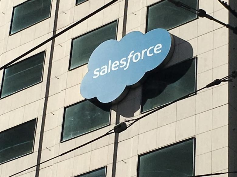 The Salesforce logo is pictured on a building in San Francisco, California, U.S. October 12, 2016. REUTERS/Lily Jamali