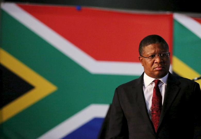 South Africa's Sports Minister Fikile Mbalula looks on during a media briefing in Johannesburg, May 28, 2015. REUTERS/Siphiwe Sibeko