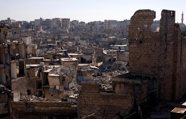 A general view shows damaged buildings at al-Kalasa district of Aleppo, Syria in Aleppo, Syria, February 2, 2017. Picture taken February 2, 2017. REUTERS/Omar Sanadiki/Files