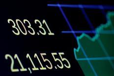 Una pantalla muestra el cierre del promedio accionario Dow Jones Industrial en la Bolsa de Nueva York. 1 de marzo de  2017. El Promedio Industrial Dow Jones superó el miércoles los 21.000 puntos por primera vez luego de que el tono mesurado del primer discurso ante el Congreso del presidente Donald Trump llevó optimismo al mercado, mientras los inversores veían una próxima alza de las tasas de interés como una oportunidad a medias. REUTERS/Brendan McDermid