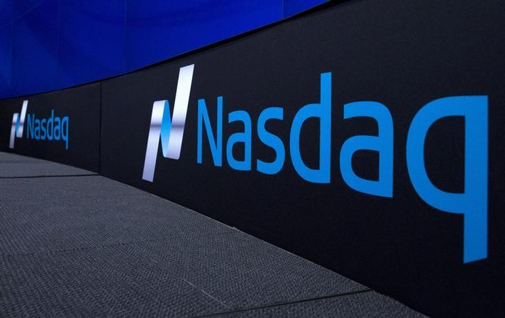 FILE PHOTO -  The Nasdaq logo is displayed at the Nasdaq Market site in New York September 2, 2015. REUTERS/Brendan McDermid/File Photo