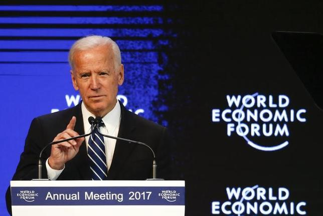 Joe Biden, Vice President of the United States speaks at the annual meeting of the World Economic Forum (WEF) in Davos, Switzerland January 18, 2017.  REUTERS/Ruben Sprich/Files