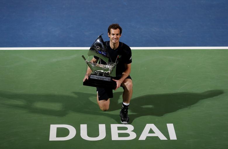 Tennis - Dubai Open - Men's Singles - Final- Andy Murray of Britain v Fernando Verdasco of Spain - Dubai, UAE - 04/03/2017- Andy Murray poses with his trophy. REUTERS/Ahmed Jadallah