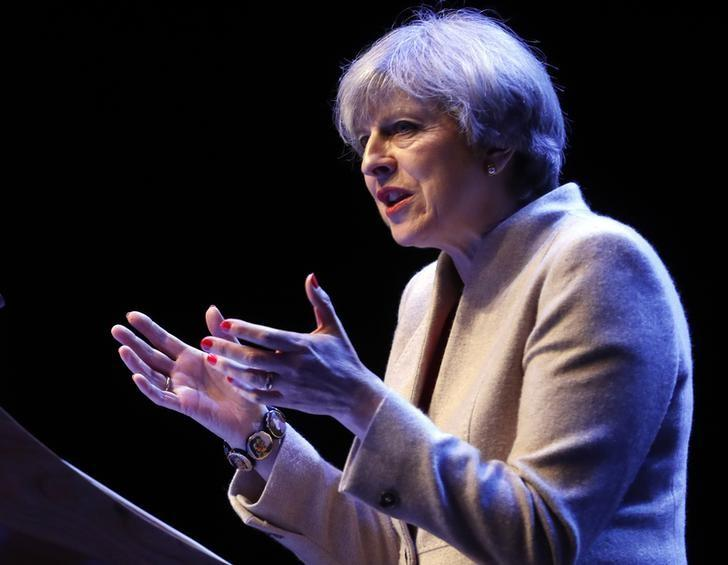 Britain's Prime Minister, Theresa May, addresses the Conservative Party's Scottish conference in Glasgow, Scotland March 3, 2017.   REUTERS/Russell Cheyne