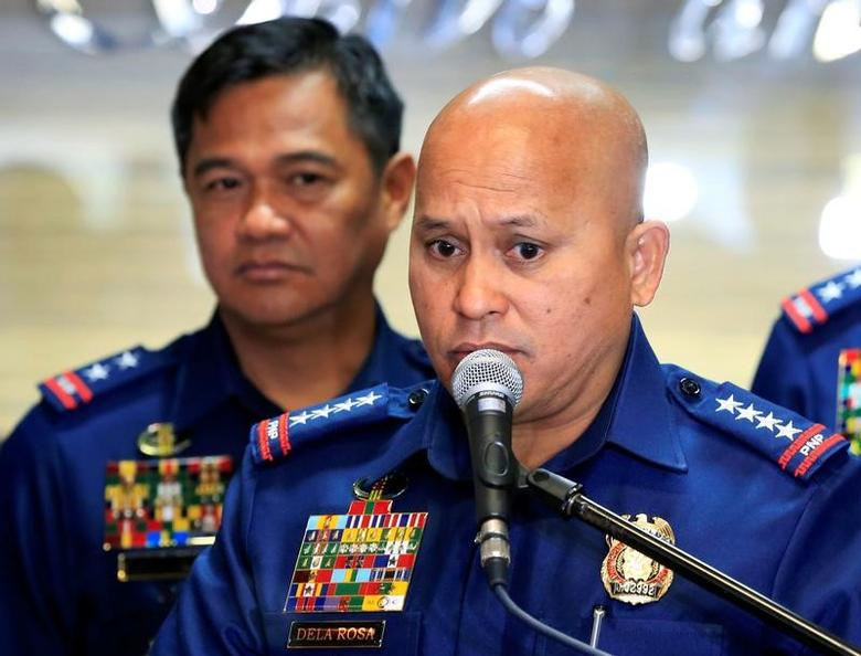 Philippine National Police (PNP) Chief Ronald dela Rosa announced the re-launch of police anti-narcotics operations during a news conference inside the PNP headquarters in Quezon city, metro Manila, Philippines March 6, 2017. REUTERS/Romeo Ranoco