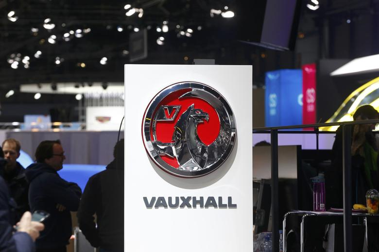 The logo is seen at the exhibition stand of Vauxhall ahead of the 87th International Motor Show at Palexpo in Geneva, Switzerland, March 6, 2017. REUTERS/Arnd Wiegmann