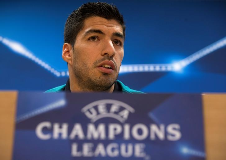 Football Soccer - Barcelona news conference - UEFA Champions League - Joan Gamper training camp, Sant Joan Despi, outside Barcelona, Spain - 7/3/17 - Barcelona's Luis Suarez attends a news conference. REUTERS/Sergio Perez