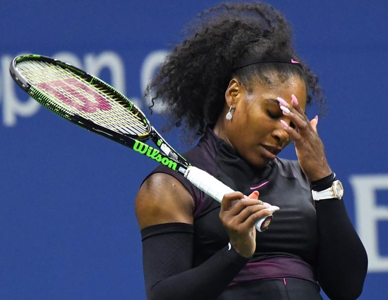 Serena Williams of the USA reacts after defeating  Vania King of USA (not pictured) on day four of the 2016 U.S. Open tennis tournament at USTA Billie Jean King National Tennis Center. Robert Deutsch-USA TODAY Sports  / Reuters