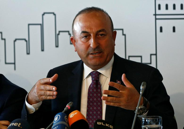 Turkish Foreign Minister Mevlut Cavusoglu speaks during a meeting with foreign diplomats in Istanbul, Turkey March 7, 2017. REUTERS/Murad Sezer