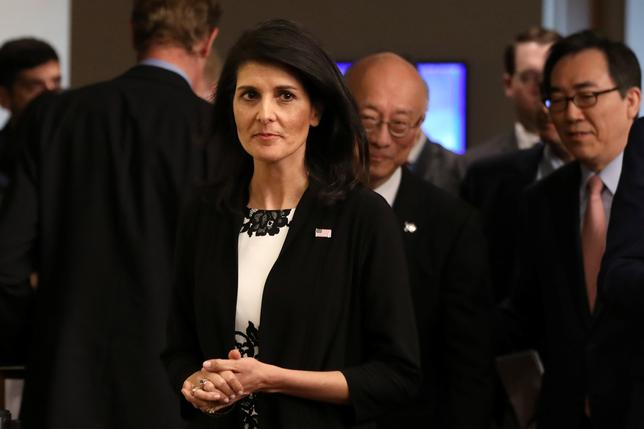 U.S. ambassador to the United Nations Nikki Haley walks at a press encounter after a meeting on North Korea's launch of ballistic missiles at the United Nations in New York, U.S., March 8, 2017. REUTERS/Shannon Stapleton