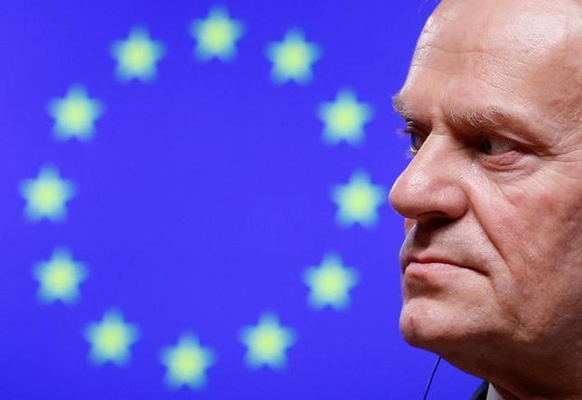 3月8日、ドイツ政府当局者は、欧州理事会の首脳の圧倒的多数が、トゥスク欧州連合(EU)大統領の再任を支持しているとの見解を示した。写真は同大統領。ブリュッセルで2月撮影(2017年 ロイター/Yves Herman)